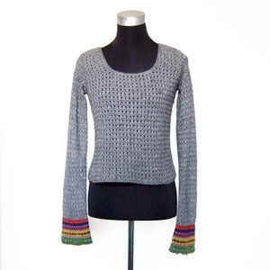 Free People Gray Crochet Rainbow Sweater